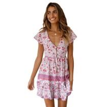 Pink V Neck Floral Print Boho Dress TQK310091-10