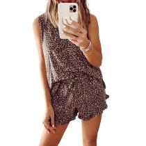Brown Leopard Print Sleeveless Pajama Set TQK710044-17