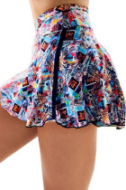 Multicolor Double-decker Tie-dye High Waist Sports Skirt Shorts LC263204-22