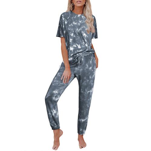 Gray Tie Dye Short Sleeve Home Wear Set TQK710034-11