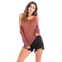 Red Cold Shoulder Long Sleeve Knit Blouse GJZ0078-3