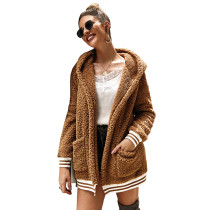 Brown Hooded Open Front Coat with Pockets TQK280021-17