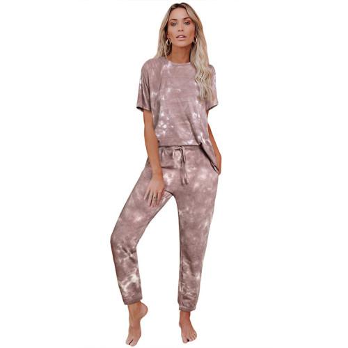 Coffee Tie Dye Short Sleeve Home Wear Set TQK710034-15
