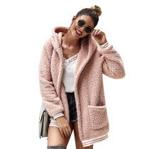Pink Hooded Open Front Coat with Pockets TQK280021-10