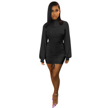 Black Long Lantern Sleeve Bodycon Dress TQS320013-2