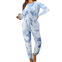 Light Blue Cotton Blend Long Sleeve Loungewear Jumpsuit TQK550202-30