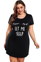 Plus Size LET ME SLEEP Graphic Print Black Nightwear Mini Dress LC31311-2
