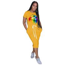 Yellow Lips Print Elastic Waist Casual Dress TQK310322-7
