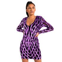 Purple Sequined V Neck Bodycon Dress TQK310224-8