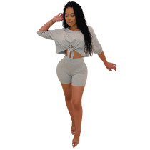 Gray Lace Up Crop Top with Shorts Set TQS710020-11
