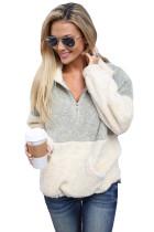 Grey White Zip Neck Oversize Fluffy Fleece Pullover