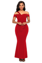 Red Asymmetric Off Shoulder Look High Waist Party Gown