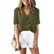 Green Button Detail V Neck Pocketed Blouse Top TQS210081-9