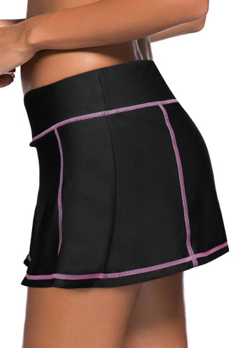 Orange Stitch Trim Black Swim Skirt Bottom LC412137-14