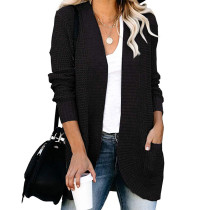 Black Chunky Wide Cardigan with Pockets TQK271082-2