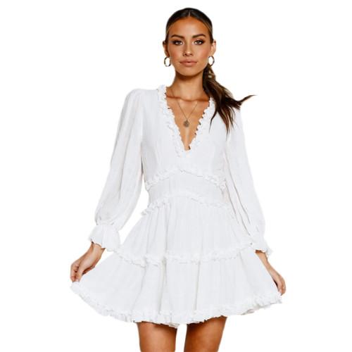 White V Neck Puff Sleeve Comfort Dress TQK310171-1