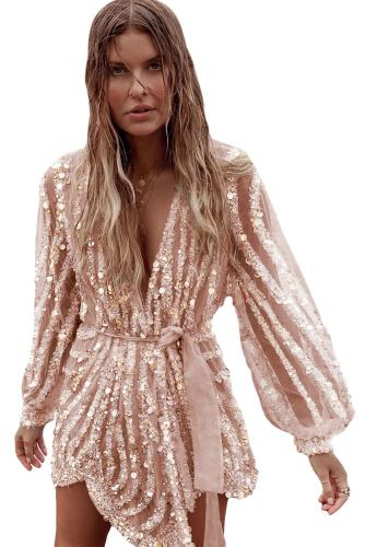 Gold Sequin Surpliced Wrap Deep V Neck Party Mini Dress LC221070-12
