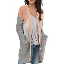 Pink Geometric Colorblock Knit Cardigan TQK271088-10