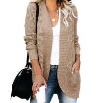 Khaki Chunky Wide Cardigan with Pockets TQK271082-21