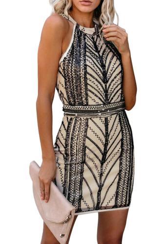 Beige Gatsby Sequin Beaded Dress LC221133-15