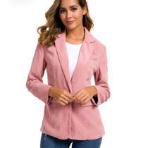 Pink Single Button Corduroy Blazer TQK260031-10