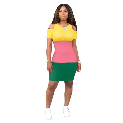 Pink Colorblock Cold Shoulder Bodycon Dress TQS310079-10