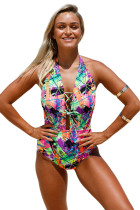 Multicolor Graffiti Lace Up Halter One Piece Swimsuit