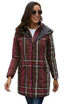 Brown Vintage Plaid Cotton Quilted Trench Coat LC85189-17