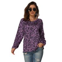 Purple Leopard Print Long Sleeve Tops TQS210061-8
