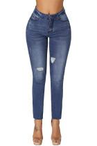 Blue Ripped Skinny Stretch Jeans