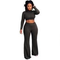 Black Crop Top with Pant Set