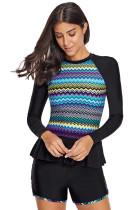 Multicolor Zigzag Accent Rashguard And Shorts
