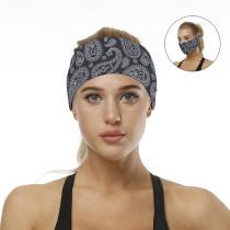 Black Digital Print Headband/ Scarf H00276-11
