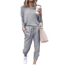 Light Gray Long Sleeve Casual Top and Pant Set TQK710093-25