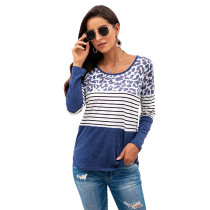 Navy Blue Leopard And Striped Long Sleeve Top TQK210400-34