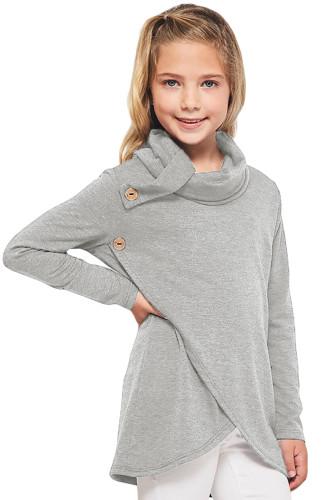 Gray Toddler Little Girls Turtleneck Blouse Top TZ25108-11