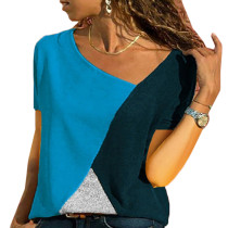 Dark Blue Color Block Crew Neck Short Sleeve Tees TQS210039-36
