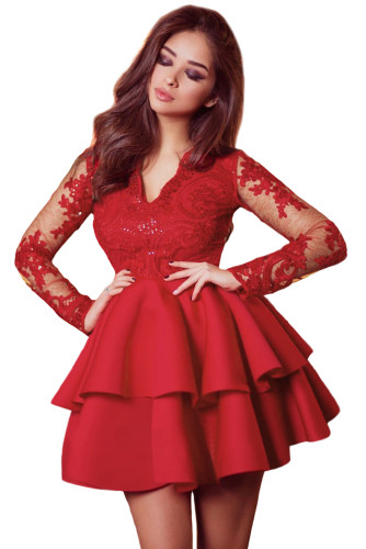 Red Sequin Embroidered Multilayer Skater Dress LC221048-3