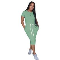 Light Green Elastic Waist Short Sleeve Casual Dress TQK310321-28