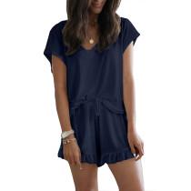 Navy Blue Ruffle Hem Drawstring Pajama Set TQK710048-34