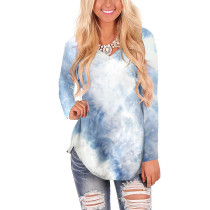 Navy Blue Tie Dye Long Sleeve Top TQK210388-34