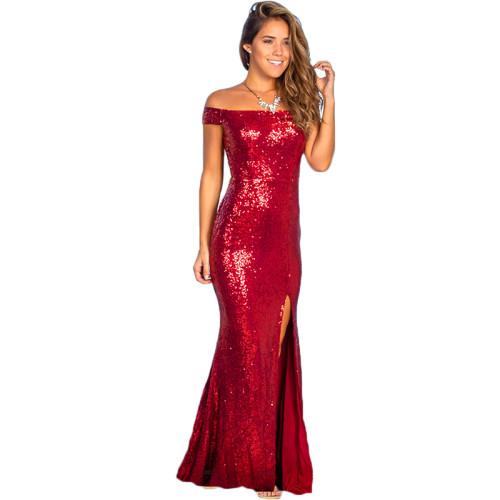 Red Off Shoulder Sequin Split Evening Dress TQK310237-3