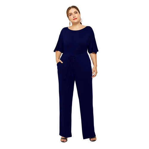 Navy Blue Wide Leg Plus Size Jumpsuit TQK550059-34