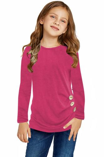 Rose Little Girls Long Sleeve Buttoned Side Top TZ25122-6