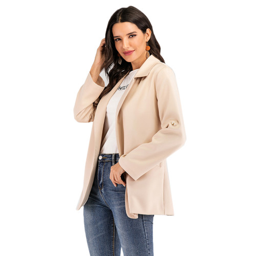 Solid Khaki Loose Style Casual Blazer TQK260035-21