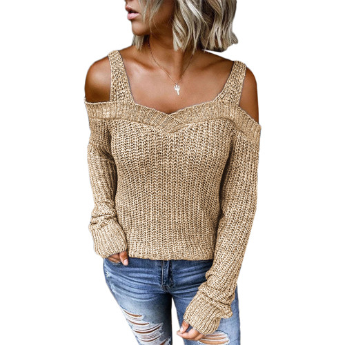 Khaki Cold Shoulder Long Sleeve Knit Sweater TQK271046-21