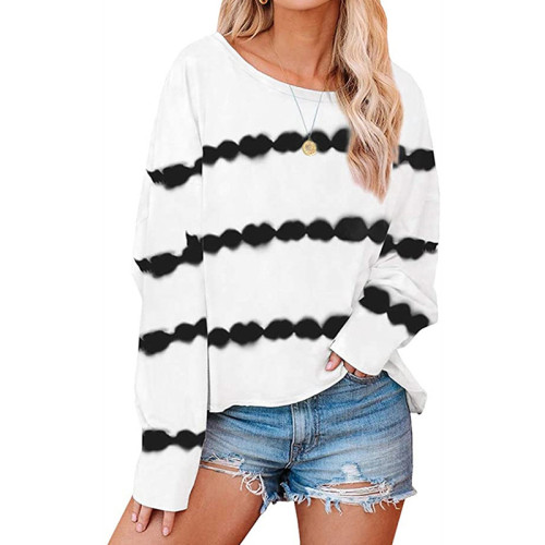 White Striped Casual Style Long Sleeve Tops TQK210433-1