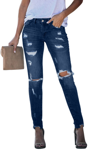 Distressed Frayed Skinny Jeans LC78024-5