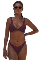 Fuchsia Knotted Two-piece Bikini Swimsuit LC411958-8