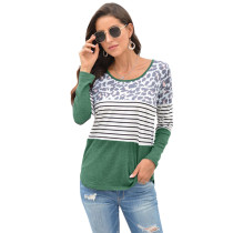 Green Leopard And Striped Long Sleeve Top TQK210400-9